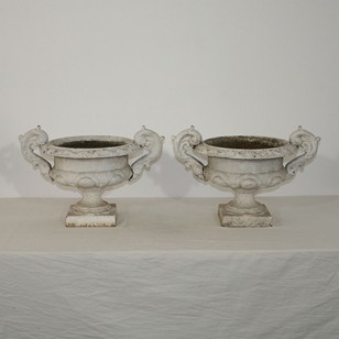 Pair of cast iron vases