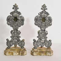 18th Century Silver On Wood Baroque Reliquaries