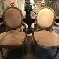Pairs of Late 19th Century Giltwood Armchairs