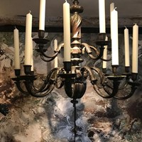Early 20 Century Large Bronze Chandelier