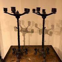 Pair of 5 Armed Regency Bronze Candlesticks