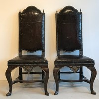 Superb pair of Spanish leather side chairs
