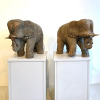 Pair of Eastern Carved Wood Elephants