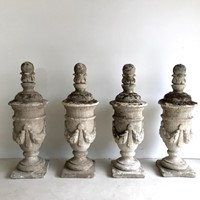 Set of 4 Stone Composite Urns