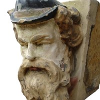 Carved Stone Theatrical Head