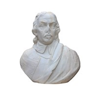 English Statuary Marble Bust Of Oliver Cromwell