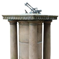 A White Marble And Bronze Noonday Cannon Sundial