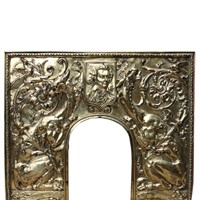 Antique Brass Repousse Fireplace Insert