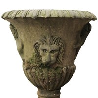 Antique English Carved Yorkstone Urn