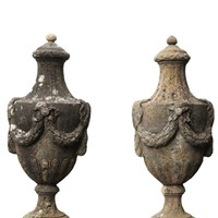 Pair Of Coade Style Lidded Urns