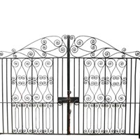 Pair Of 11'7″ Reclaimed Wrought Iron Driveway Gate