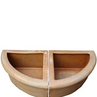 Pair Of Salt Glazed Terracotta Corner Troughs