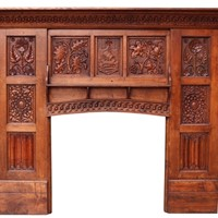 English Arts & Crafts Style Carved Oak Fireplace