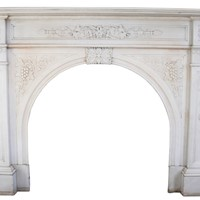 Victorian Carved White Statuary Marble Fireplace