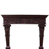 Carved Oak Tudor Style Fireplace