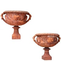Pair Antique John Matthews Terracotta Vases