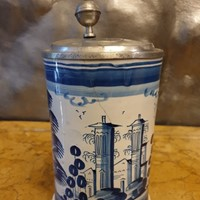A east german beer mug, blue landscape, 18th
