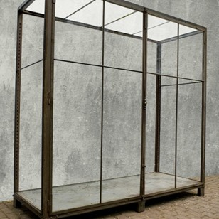 Rare German iron and glass showcase cabinet