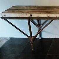 Industrial Console table with a massive top