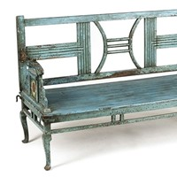 Antique painted Indian park bench