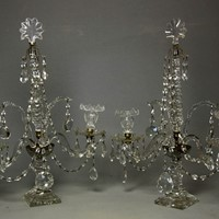 Pair of george iii cut-glass two-light candelabras