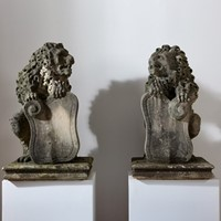 A Pair of Carved Stone Lions