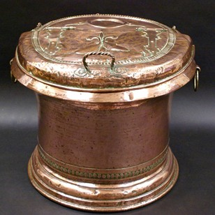 A superb and very large copper storage bin