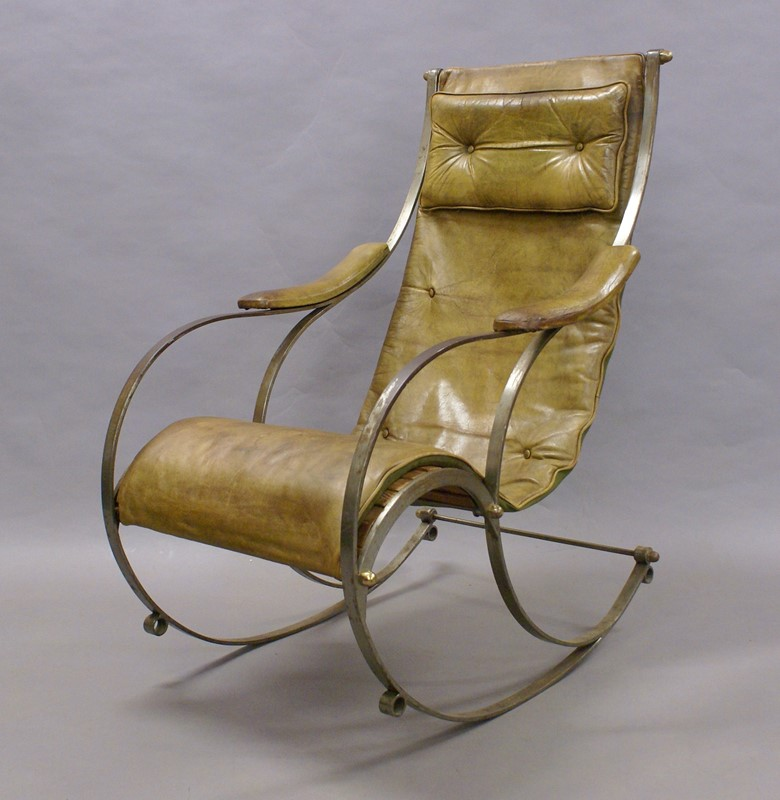 A Steel and Leather Rocking Chair By R.W.Winfield.-w-j-gravener-antiques-dsc04627-main-637147803479330157.jpg