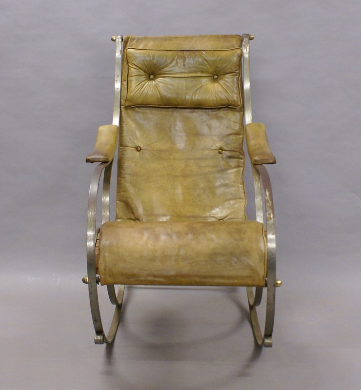 A Steel and Leather Rocking Chair By R.W.Winfield.-w-j-gravener-antiques-dsc04630-main-637147803720339904.jpg