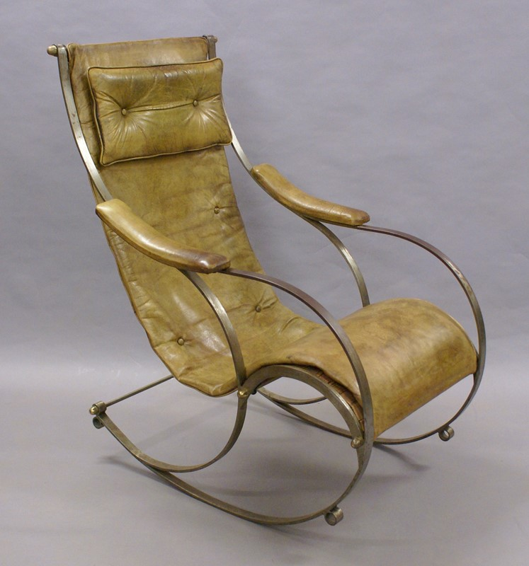 A Steel and Leather Rocking Chair By R.W.Winfield.-w-j-gravener-antiques-dsc04632-main-637147803814089094.jpg