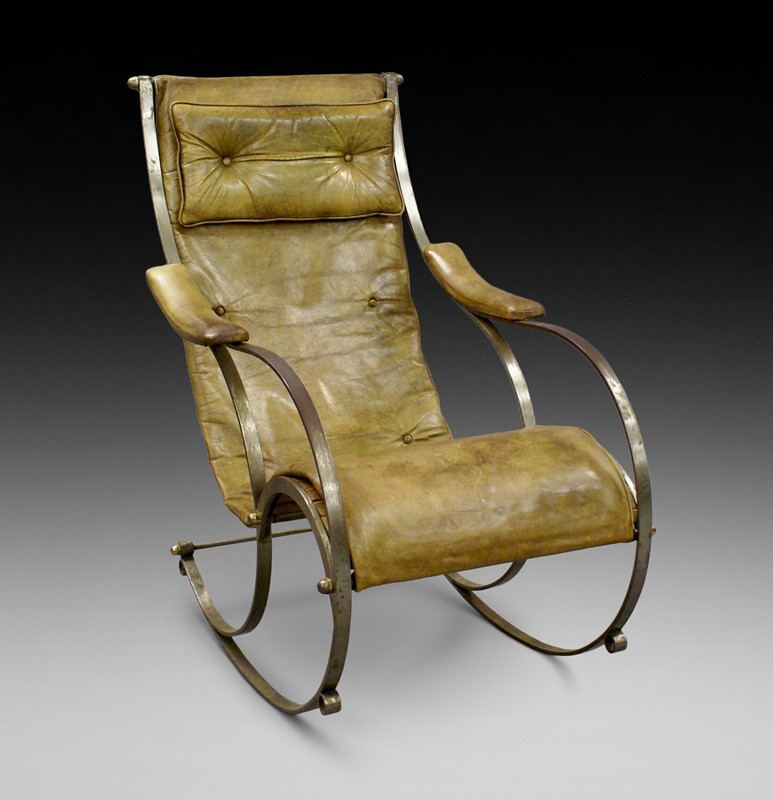 A Steel and Leather Rocking Chair By R.W.Winfield.-w-j-gravener-antiques-p-1-main-637147803370580506.jpeg