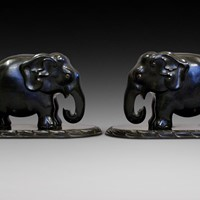 Exceptional pair of carved ebony elephants.