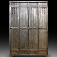 A set of early 20th C industrial metal lockers