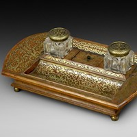 Regency Rosewood & Brass inlaid Desk/inkstand