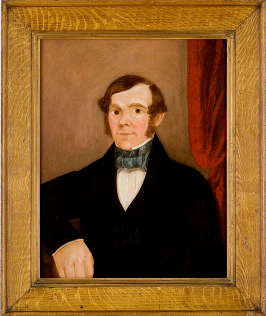 Naive Portrait of a Man, period oak grained frame-walpoles-1117z_main.jpg