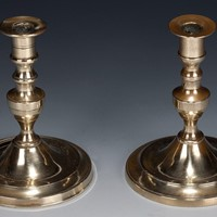 A Rare pair of Brass Tapersticks