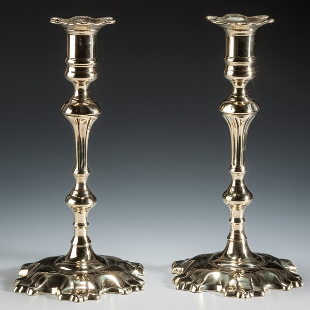A Pair of George II Shell-Based Brass Candlesticks-walpoles-2318_main_635964202763991454.jpg