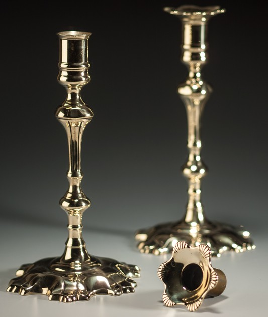A Pair of George II Shell-Based Brass Candlesticks-walpoles-2318a_main_635964202505174182.jpg