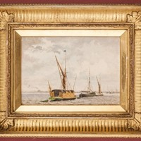 Fine and Small Oil, Off Greenwich by J.M. Carrick