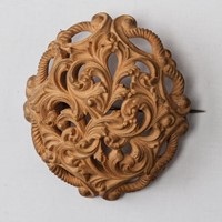 Carved Wood Boss Brooch