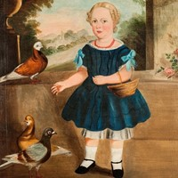 Large Naive painting of child Feeding the Pigeons