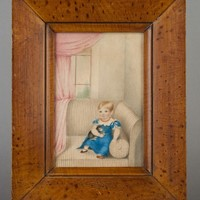 Charming Regency Painting Child with Her Pet Cat