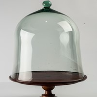 Large Glass Dome & Mahogany Stand