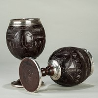 Pair of Dated Coconut Cups 'A.B' and dated 1790.