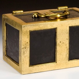 Victorian brass and steel fire proof Strong Box.