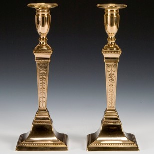 Engraved Neoclassical Candlesticks
