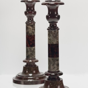 Banded Serpentine Candlesticks