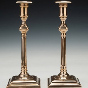 Pair 18th century bell-metal Six-Flute Candlesicks