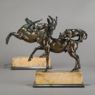 Grand Tour Roman Bronzes; Mastiffs Attacking Stags