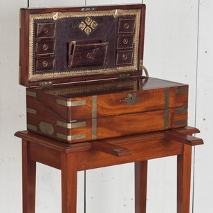 A Brass-Bound Mahogany Writing Box on Stand
